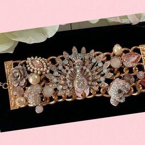 Betsey Johnson Pinktina Peacock & Skull Bracelet